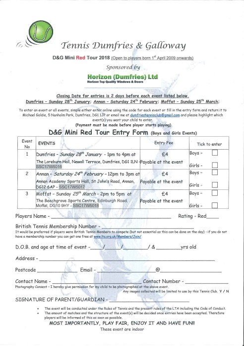 D&G Mini Red Tour Entry Form 2018