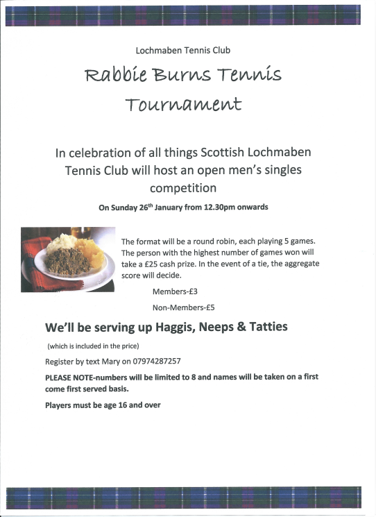 Rabbie Burns tennis tournament